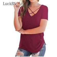 цены на Summer Female T-shirt Short Sleeve Sexy V-Neck Loose Long Tees Plus Size T-Shirts Women Clothing Solid Color Spring Summer Tops  в интернет-магазинах