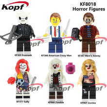 KF8018 The Horror Theme Movie Figures American Crazy Man Foxmask Sally Zombie Building Blocks Ladrillos Acción Niños Regalo juguetes