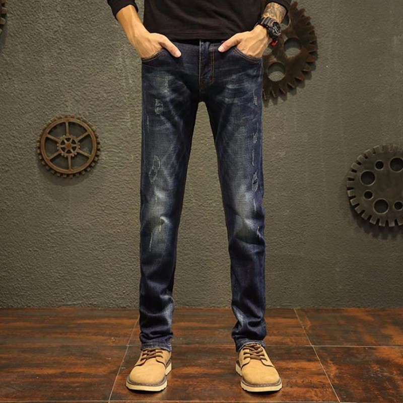 New design mid waist jogger jeans masculino mens pants Washed Slim fit male Cotton Straight Long denim homme Trousers new design skinny mens jeans men brand fashion male casual cotton slim straight elasticity pants loose waist long trousers denim