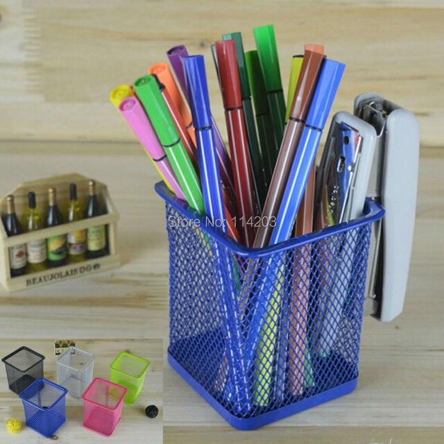 decorative office supplies. hollow design metal pen holder square desktop tidy office accessories u0026 pencil container desk decoration decorative supplies