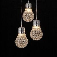 Modern Creative Dining Room Crystal Bulb Pendant Lamp American Restaurant Cord Pendant Lighting Fixtures Contemporary Decoration