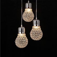 Modern Creative Dining Room Crystal Bulb Pendant Lamp American Restaurant Cord Lighting Fixtures Contemporary Decoration