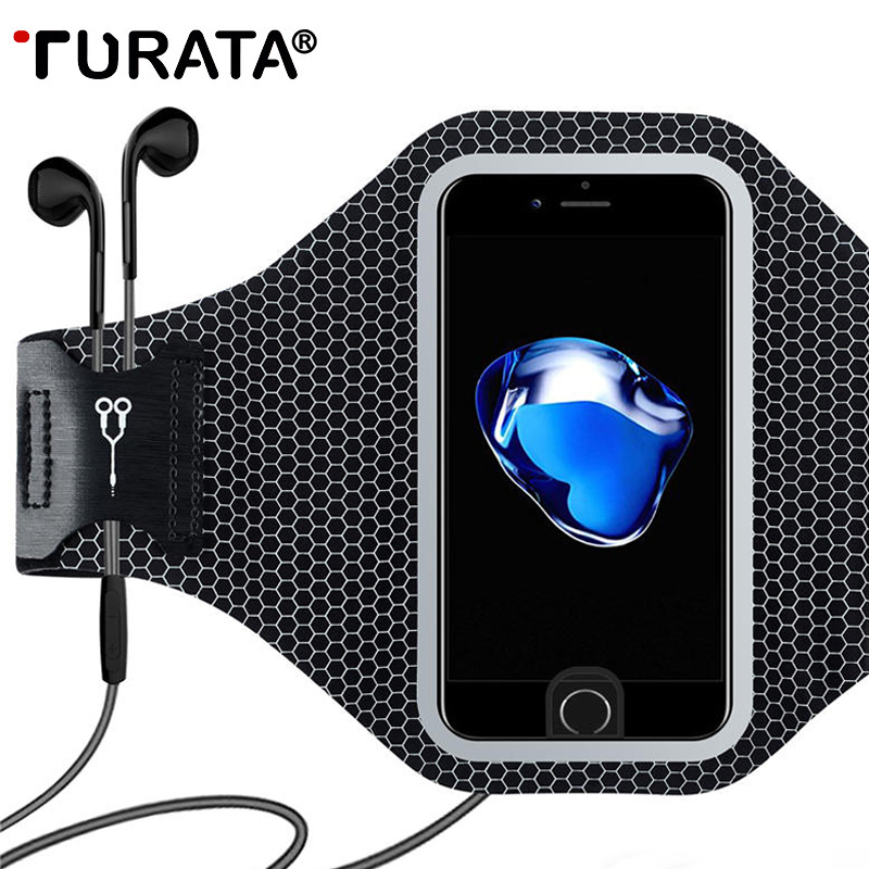 Galleria fotografica TURATA Universal Sports Arm Band Case For iPhone 6 6S 7 Plus Smart Touch GYM Running Fitness Phone Arm Band Accessories Cover