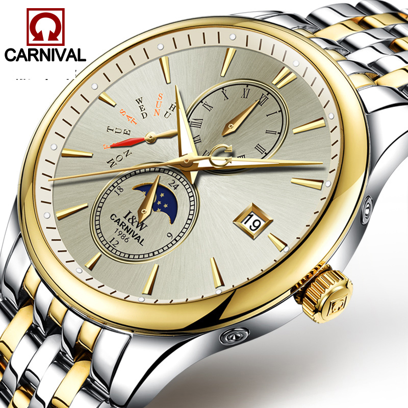 New Luxury Fashion Mens Automatic Mechanical Watches Carnival Men Moon Phase Clock Male Stainless Steel Gold Watch Montres Homme