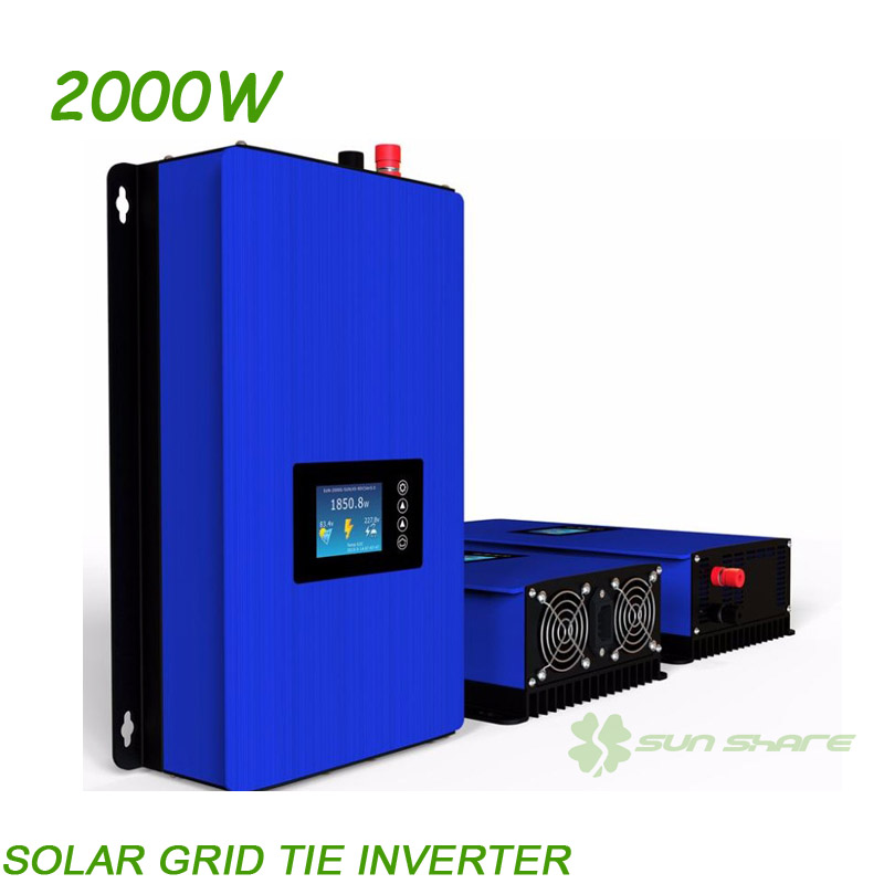 Second Generation NEW 2000W Solar Power MPPT Grid Tie Inverter DC45V-90V TO AC100V 110V 220V 230V 230V auto select LCD display 220v 230v 240v output solar power inverter on grid tie dc 45 90v input with mppt function 2000w