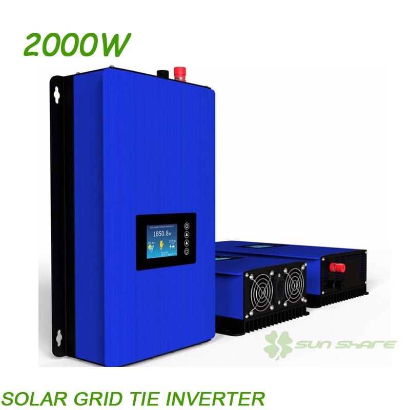 Second Generation NEW 2000W Solar Power MPPT Grid Tie Inverter DC45V 90V TO AC100V 110V 220V 230V 230V auto select LCD display
