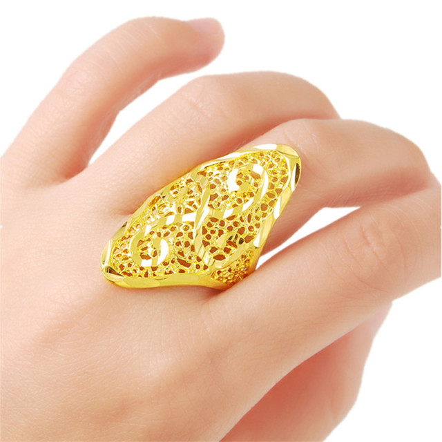 brand golden ring design hollow pattern aneis jewelry gold color