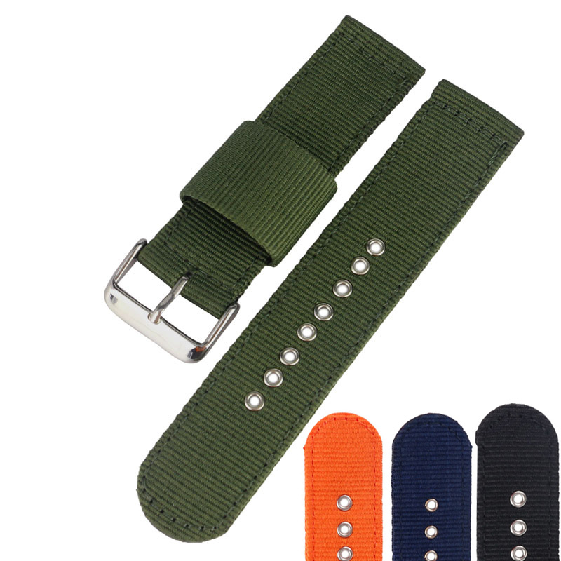 1PCS 20mm/22mm/24mm Nylon Sport Bracelet Watch Band Replacement Watch Strap Stainless Steel Pin Buckle High Quality high quality 20 22 24mm military nylon army green soft belt bracelet replacement pin buckle sport outdoor watch strap band