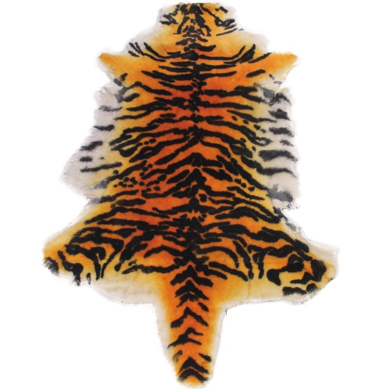 100% laine moelleux zone tapis tigre fourrure Imitation tapis salon chambre tapis couverture fausse fourrure doux coussin chaise fourrure laine tapis