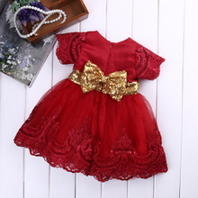 цены на 2017 New Baby girl clothes Princess Dress Clothes Short Sleeve Lace Bow Ball Gown Tutu Party Dress Toddler Kids Fancy Dress 0-7Y  в интернет-магазинах