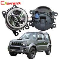 Cawanerl 2 X Car Styling 4000LM LED Bulb H11 Fog Light + Angel Eye DRL 12V For Suzuki Jimny FJ Closed Off Road Vehicle 1998 2014