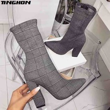 TINGHON New Design Print Ankle Boots Women heels For Autumn Winter Fashion Pointed Toe Square heel Zipper Woman