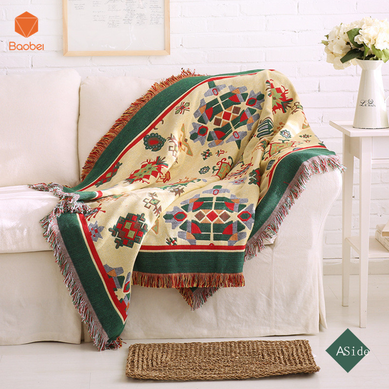 100% Cotton Double - sided blanket sofa decorative slipcover Throws on Sofa/Bed/Plane Plaids Rectangular stitching Blanket SF20
