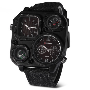 Luxury Brand Big Dial Sport Military Men Watches Dual Time Zone Quartz Wristwatch with Compass Relogio Masculino