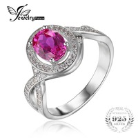 JewelryPalace Classico 1.8ct Ovale Creato Zaffiro Rosa Halo Promise Ring 925 Sterling Silver Jewelry New Fashion Anelli Per Le Donne