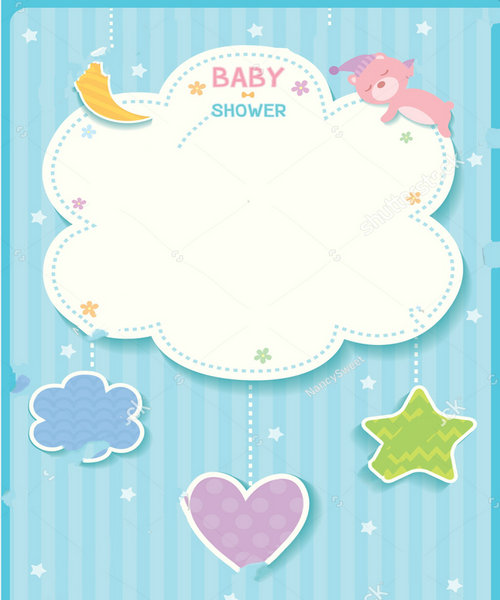 baby cloud baby shower cute star moon heart bear blue template frame background Vinyl cloth Computer print wall backdrop