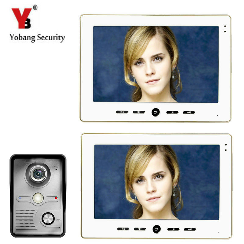YobangSecurity Wired 10 Inch LCD Color Camera Video Door Bell Phone Intercom Home Gate Entry Security Kit System for Families yobangsecurity wired 7 inch lcd video door bell phone intercom rfid card access control home gate entry system with door lock