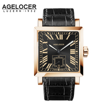 Agelcoer Golden Case Luxury Business Automatic watch Roman Numerals Display Mechanical Black Men 100% Leather Waterproof 50m