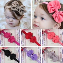 Hot Fashion 10Pcs Cute Kids Girl Baby Chiffon Toddler Flower Bow Headband Hair Band Headwear Random Color 6KIE 7EM1
