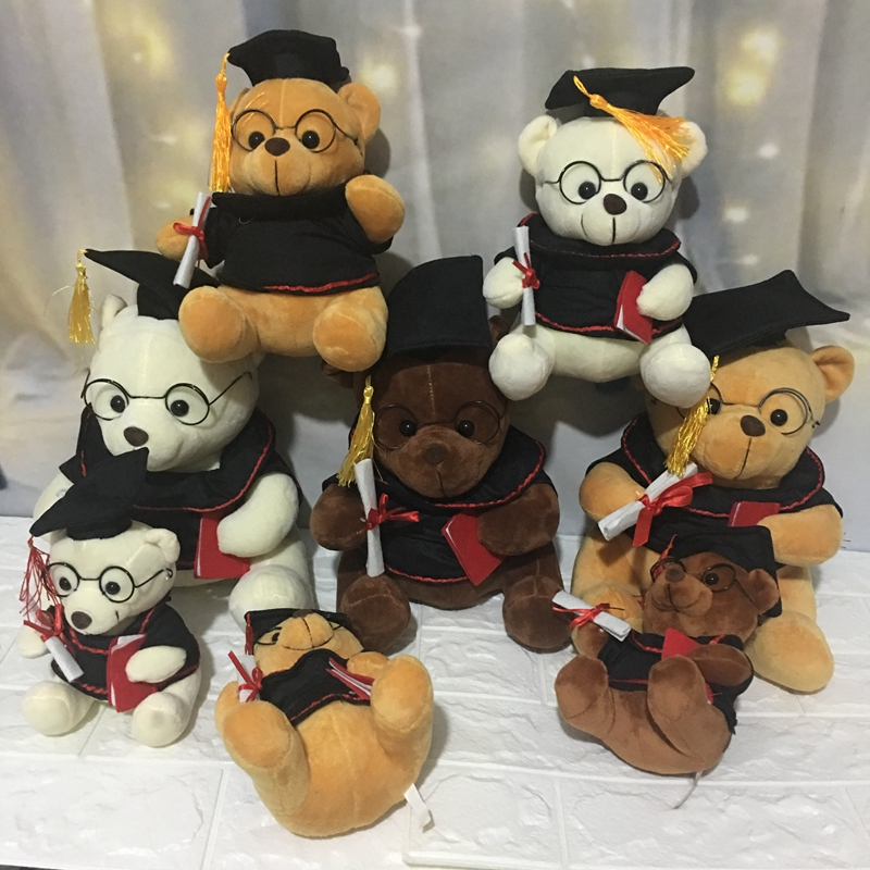 1pc 18-28cm Lovely Dr. Bear Plush Toys Staffed Cute Teddy Bear Animal Doll Toys for Children Kids Kawaii Cute Graduation Gift