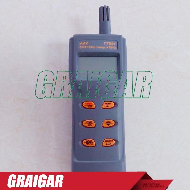 Handheld Combo Carbon Dioxide Carbon Monoxide CO2/CO Detector CO2/CO/RH./Temperature Meter 99 Metory USB Output AZ77597