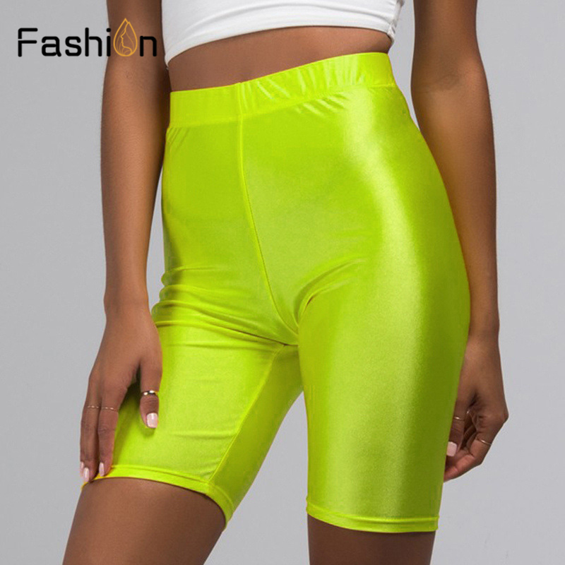 Biker   Shorts   Women 2019 New Solid Color Elastic High Waist   Shorts   Pink Sexy Bodycon Summer   Shorts   Black Red Plus Size
