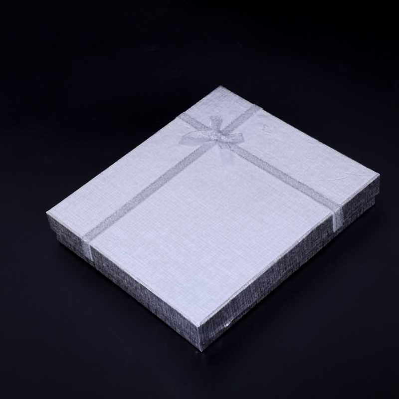 16x12x3,2 см Подарочное ожерелье с бусинами-кубиками кулон с секретом коробка ювелирных изделий цвет серебро