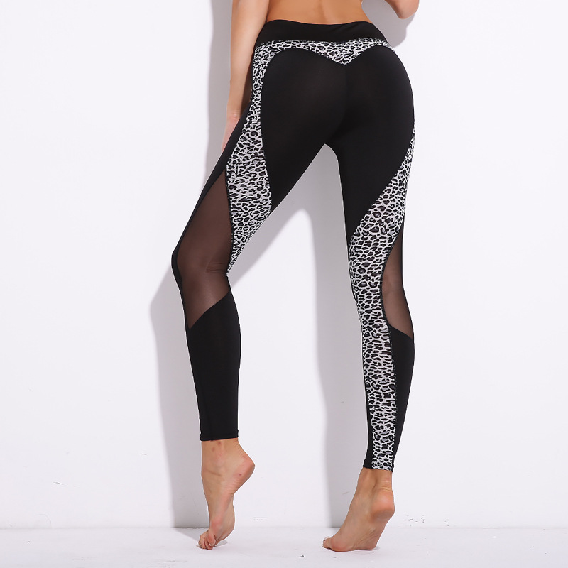 2 Colors Sexy Leopard Heart Leggings Women Fitness Mesh Patchwork Leggins Bodybuilding Breathable Jeggings Pants Women Leggings