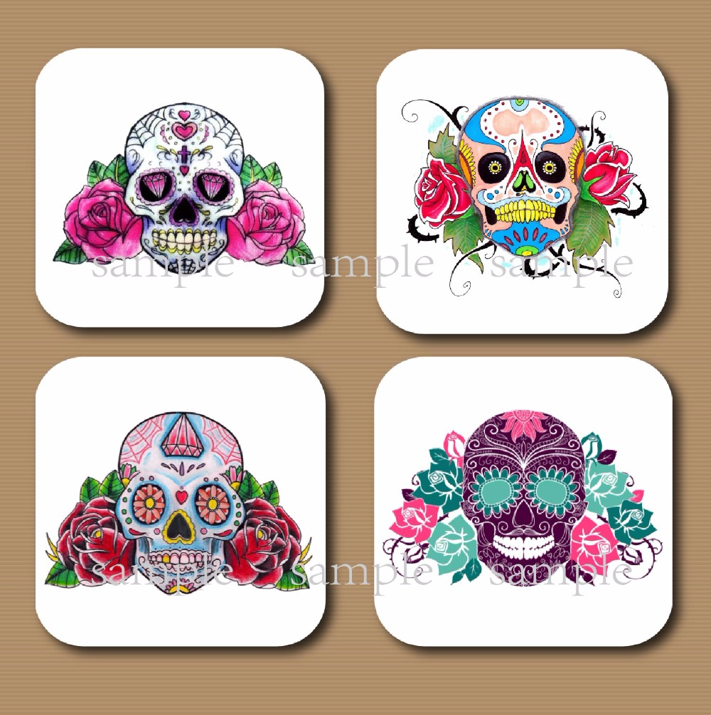 Set Of 4 Mexican Sugar Skull Cup Coaster Wood Mdf Rustic Home Cabin Decoration  Wedding Favor Decor Birthday Party Supply Gifts