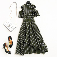 Off Shoulder Striped A Line Dress 2018 New Runway Women Summer Dress High Quality Office Lady