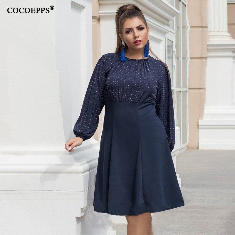 017d12528931bb COCOEPPS Plus Size Vrouwen Jurk Dot Print Bodycon Elegante Jurk Grote Maat  Vrouwen Kleding 5XL 6XL