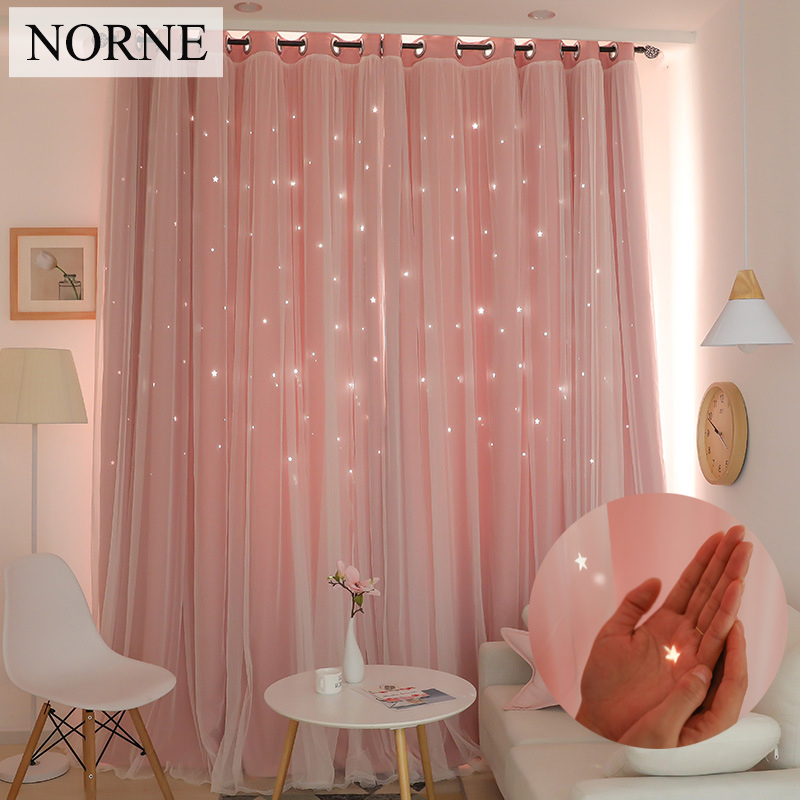 NORNE Hollow Star Thermal Insulated Blackout Curtains for Living Room Bedroom Window Curtain Blinds Stitched with white Voile(China)