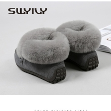 SWYIVY Snow Boots Female Rabbit Fur Comfortable Winter Woman Warm Fur Snow Boots Ankle Genuine Leather Tassel Snow Boots 40
