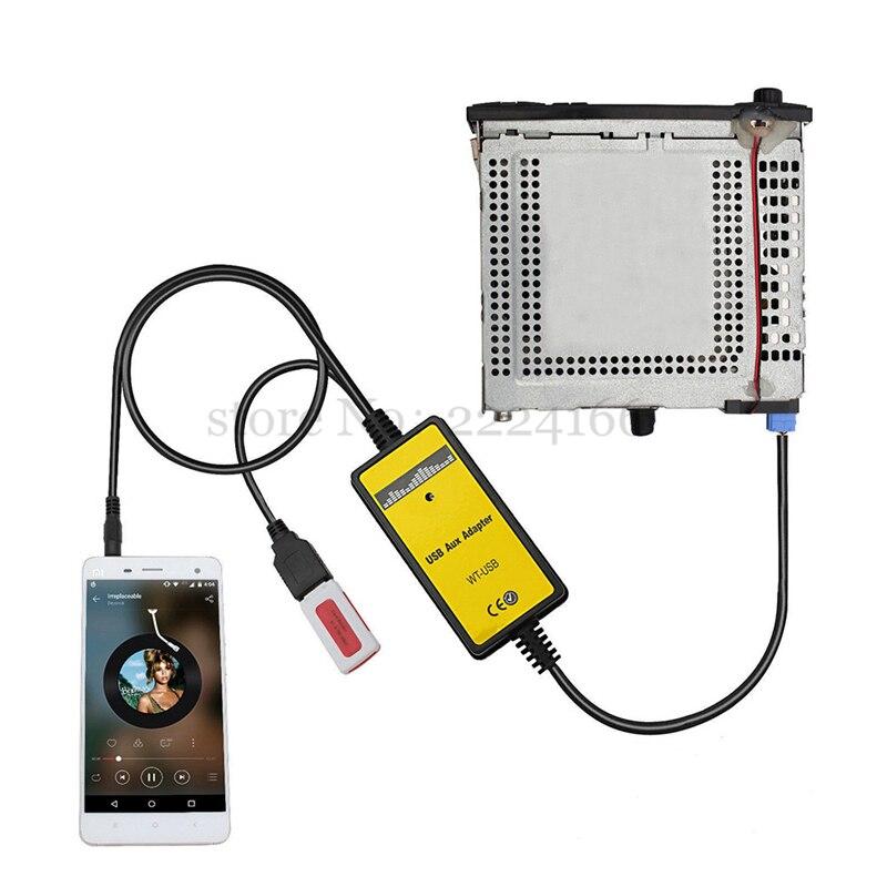 imágenes para Lonleap Adaptador de Coche Reproductor de MP3 CD USB AUX Coche de estilo para VW Escarabajo Golf Polo Skoda Asiento 8PIN Interface Piezas de automóviles
