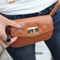 2016 primavera y el verano de hilo de coser a cuadros estilo clásico paquete de la cintura bolsas pequeñas de la mujer