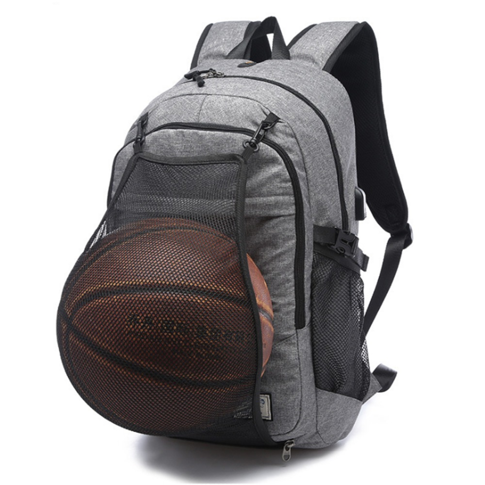 3354a46d2520 Multifunction Basketball Backpack Man SportS Bag Gym Bag 15.6 Inch Laptop  with Basketball Net USB Charging