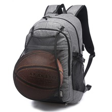 купить Multifunction Basketball Backpack Man Gym Bag 15.6 Inch Laptop Shoulders Bag with Basketball Net USB Charging Port Male Bag