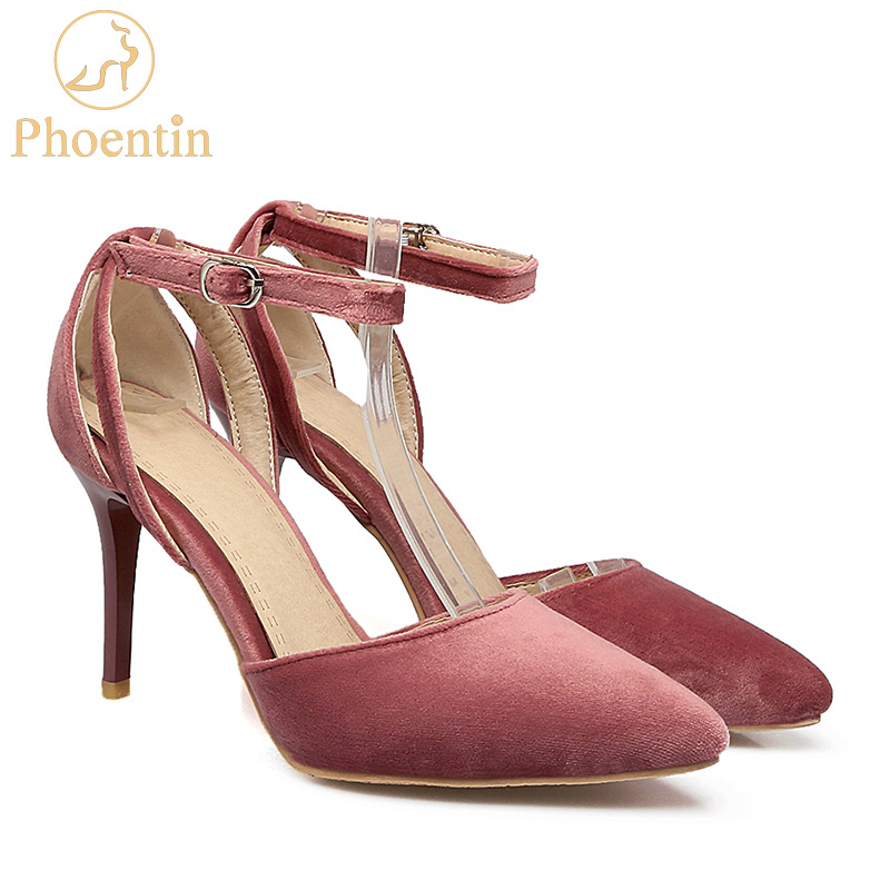 Phoentin ankle strap shoes large size extreme high heels buckle pumps women shoes thin heel pointed toe dress sexy pumps FT223 2017 high heels ankle strap pointed toe thin zipper plus size ultra wine red unique pumps green shoes for women 9 40 sexy