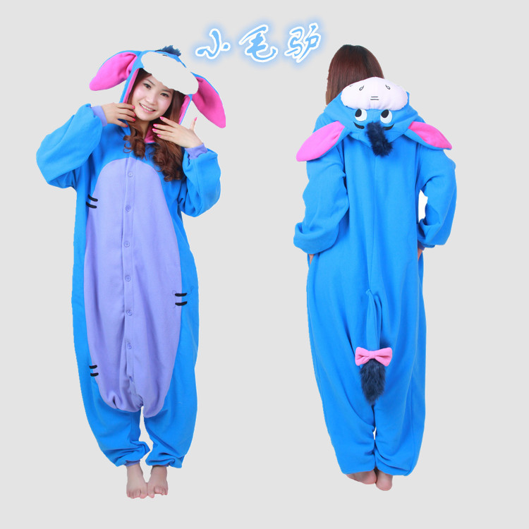 Top quality Polar Fleece 3D Eeyore donkey Onesies Cosplay Costume Women Men Kids Pajamas Pyjamas Tracksuit Sleepwear One-piece