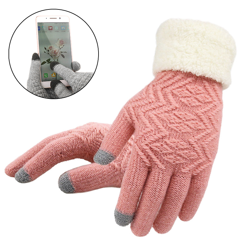 1 paire de Gants d'hiver tricotés pour femmes