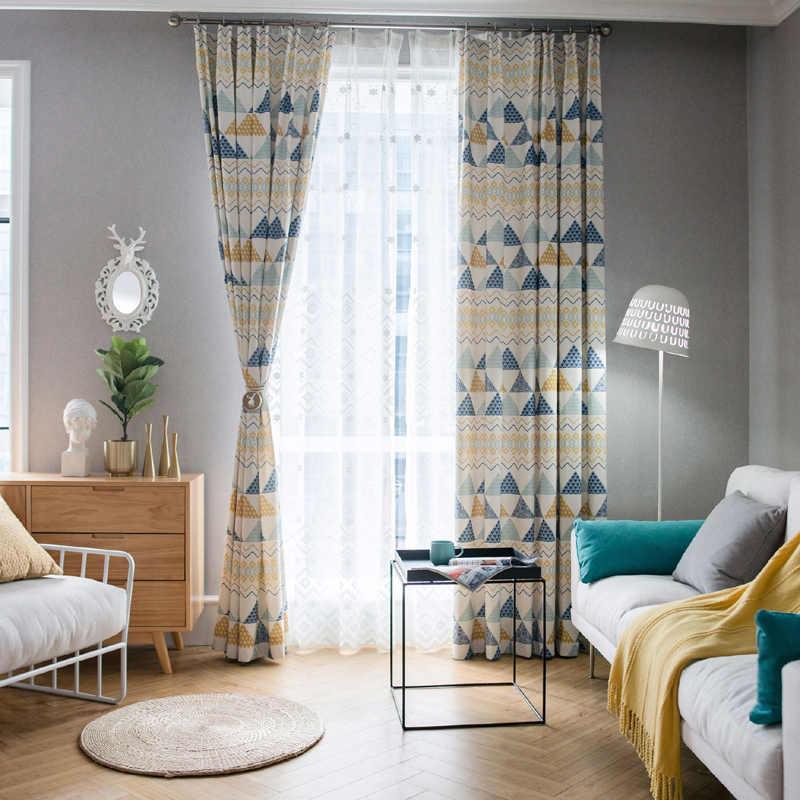 Современные светонепроницаемые шторы с геометрическим принтом для гостиной, спальни, детской комнаты для мальчиков, тюлевые занавески на заказ, скандинавский домашний декор 0894
