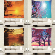 купить Nature Sunshine Beautiful Night Sky Wall Tapestry Home Decorations Wall Hanging Forest Starry Night Tapestries For Living Room по цене 211.68 рублей