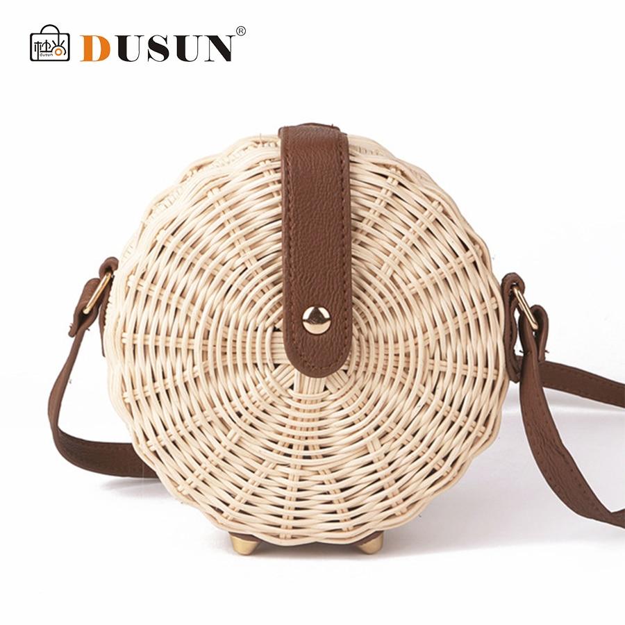 DUSUN Summer Bohemian Bali Hand-woven Round Straw Bag Women Rattan Package Vintage Tassel Kintted Bucket Bag Beach Messenger Bag
