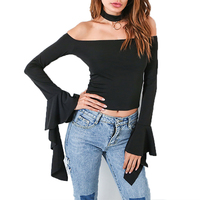 Black Slash Neck Crop Top Blouse Women 2017 Off Shoulder Long Sleeve Blouse Blusas Sexy Ruffles Blouse Mujer Bell Sleeve Tops
