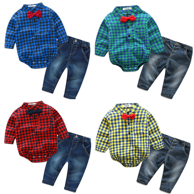 Hot Sales Infant Baby Boys Sets Red Plaid long-sleeved Tops+ Pants 2pcs Outfits Toddlers Suits Clothes