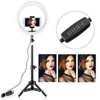 Samtian 10 pulgadas Selfie estudio anillo luz 5500 K con trípode soporte para Youtube maquillaje Led escritorio anillo lámpara Mini LED de luz de la cámara