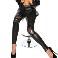 Three Zipper European And American Sexy Spring Autumn Women New Classic Hot Leather Leggings Leather