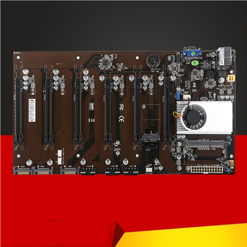 все цены на  New D1800BTC Motherboard Riser Card 6 PCI-E PCI Express X1 Slot with CPU for Graphics Card for BTC Miner Mining Machine Device  онлайн