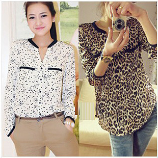 6fc61148b6a940 New 2013 Women Fashion Blouse Business Shirt Chiffon Plus size Silk Blouses  POLO Summer Stars Leopard Long sleeve Drop shipping-in Blouses & Shirts  from ...