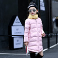 2016 Brand Girls Winter Warm Long Coat Kid Cotton Girls Long Sleeve Christmas Candy Color School Cute Outerwear Children Clothes